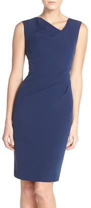 Women's Adrianna Papell Drape Neck Crepe Sheath Dress $98 thestylecure.com