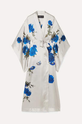 MENG - Printed Silk-satin Robe - White