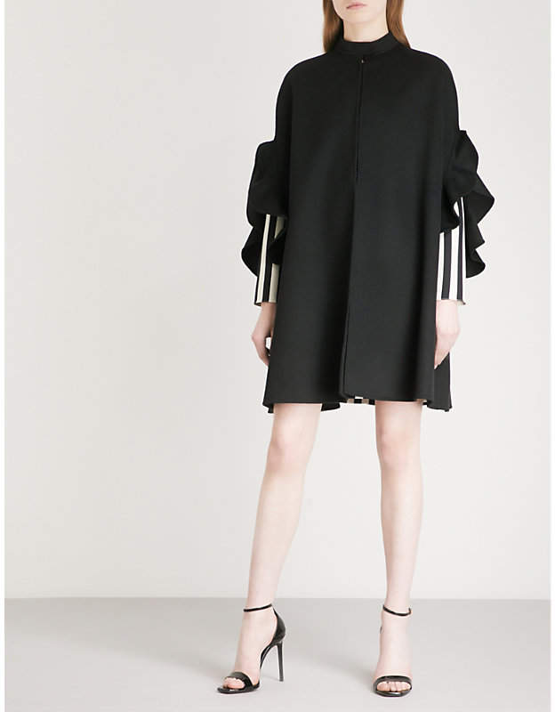 Ruffled-trim wool and cashmere-blend cape