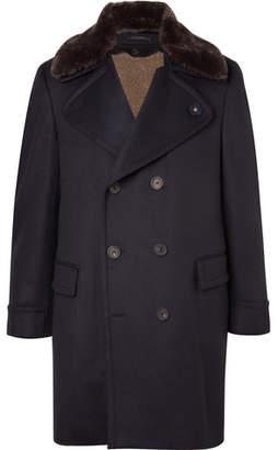 Lardini Double-Breasted Faux Shearling-Trimmed Wool Overcoat
