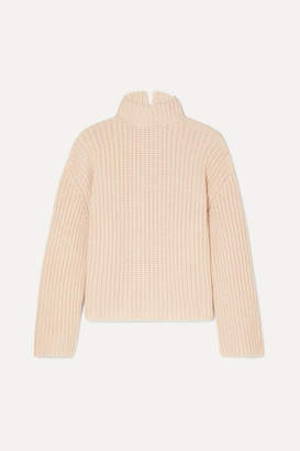 Loewe Faux Pearl-embellished Open-back Cashmere Sweater - Ivory