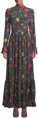Double J Paesaggio Long-Sleeve Floral-Print A-Line Long Dress