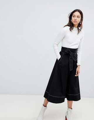 KOWTOW Kowtow Audition Midi Skirt with Contrast Stitching in Organic Cotton