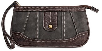 Bolo Women's Faux Leather Wallet with Back/Interior Compartments and Zipper Closure - Black/Chocolate $17.99 thestylecure.com