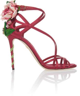 Dolce & Gabbana Floral-Appliquéd Suede Sandals
