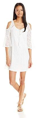 My Michelle Junior's Lace Cold Shoulder Dress with Tassel Tie