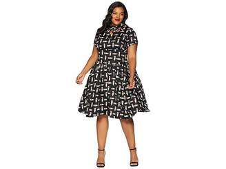 Unique Vintage Plus Size 1950s Style Keyhole Lizzie Swing Dress Women's Dress