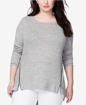 Rachel Roy Trendy Plus Size Zip-Hem Top