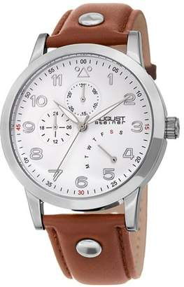 August Steiner Silver Tone Casual Quartz Watch With Leather Strap [AS8244SS]