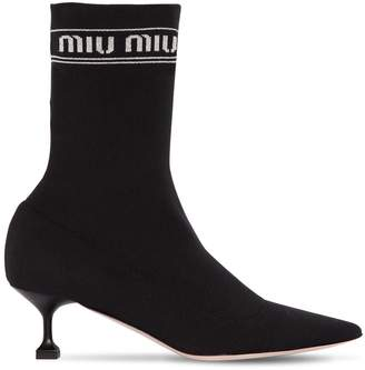 Miu Miu 55mm Logo Knit Sock Ankle Boots