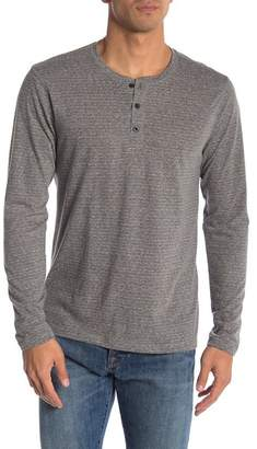 Public Opinion Triblend Stripe Henley Long Sleeve Shirt