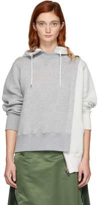 Sacai Grey Pullover Zip Hoodie
