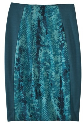Mossimo® Women's Green Ponte Animal Print Skirt