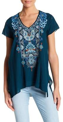 Johnny Was Embroidered Drape Blouse