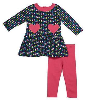 Florence Eiseman Girl's Multi Heart Long-Sleeve Dress w/ Heart Pockets & Leggings, Size 2-6X
