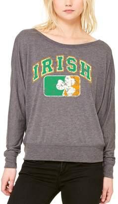 DAY Birger et Mikkelsen Shop4Ever Vintage Irish Flag Shamrock Off Shoulder Tee St. Patrick's Long Sleeve 6785