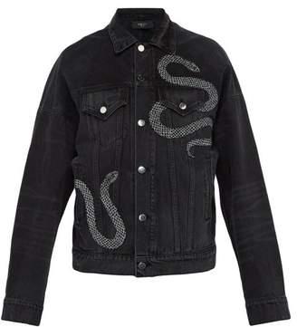 Amiri Glitter Embroidered Snake Denim Jacket - Mens - Black