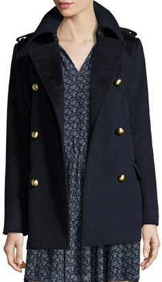 MICHAEL Michael Kors Double-Breasted Wool-Blend Military Pea Coat, New Navy $395 thestylecure.com
