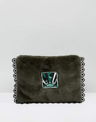 Anna Sui Faux Fur Clutch Bag with Badge