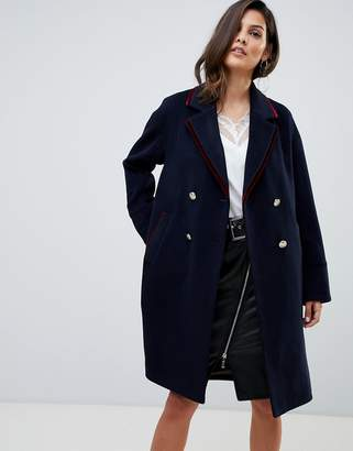 Morgan military coat with contrast velvet trim detail