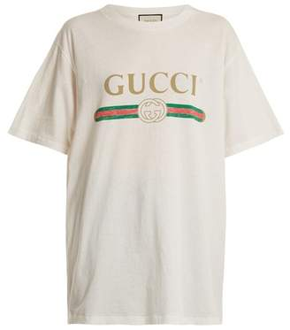 Gucci Logo Print Cotton T Shirt - Womens - White Print