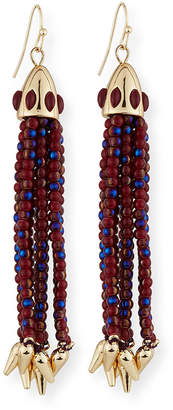 Lulu Frost Beaded Red Tassel Drop Earrings