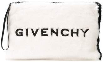 Givenchy large faux fur clutch bag