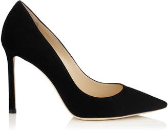 Jimmy Choo ROMY 100 Black Suede Pointy Toe Pumps