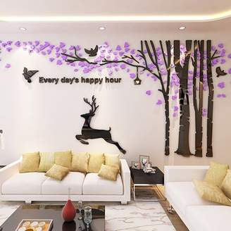 Ghaif The Tree deer acrylic 3d wall posters creative room decorations living room sofa tv background wall sticker door wall mount 173 forest Deer - Section 2 - Light purple leaf + Black dry ultra-small
