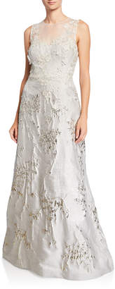 Rickie Freeman For Teri Jon Mesh-Yoke 3D Flower Jacquard Gown