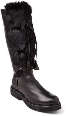 Elena Black Fur-Trimmed Tall Creeper Boots