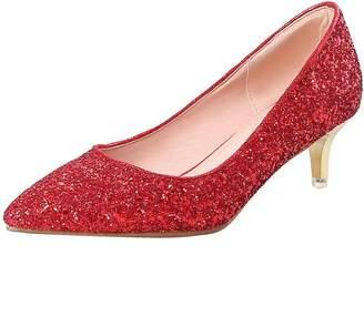 a5ed844fb45 Artfaerie Womens Stiletto Kitten Heel Glitter Court Shoes Pointed Toe  Bridal Wedding Pumps Shoes