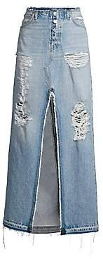 Hudson Jeans Women's Sloane Long Distressed Denim Skirt