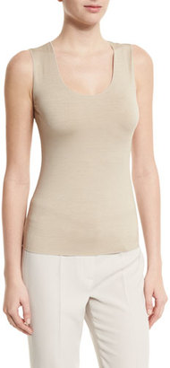 Armani Collezioni Scoop-Neck Fitted Shell, Sand $295 thestylecure.com