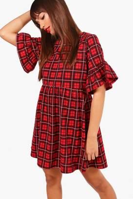 boohoo Red Check Ruffle Sleeve Smock Dress