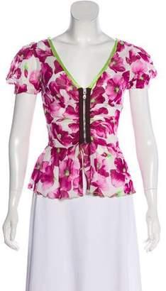 Dolce & Gabbana Floral Cap Sleeve Blouse