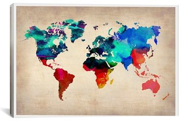 Icanvas 'World Watercolor Map' Giclee Print Canvas Art