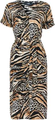 WallisWallis Stone Animal Print Shirt Dress