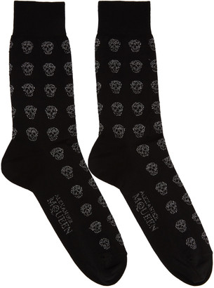 Alexander McQueen Black Metallic Skull Socks $70 thestylecure.com