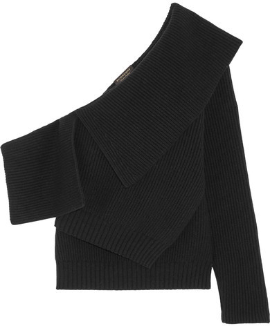 Burberry  Burberry - One-shoulder Ribbed Wool And Cashmere-blend Sweater - Black