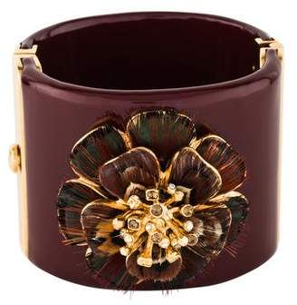 Chanel Resin Crystal Feather CC Camellia Wide Cuff
