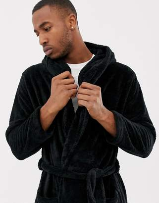 5afef2e17a52 Asos Design DESIGN fluffy hooded dressing gown in black