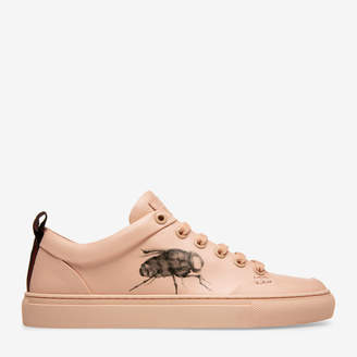 Bally Helliot X Fly Pink, Men's printed calf leather trainer in flesh and black