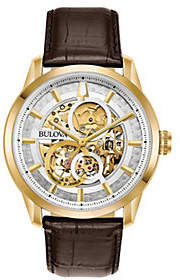 Bulova Men's Leather Band Skeleton Watch