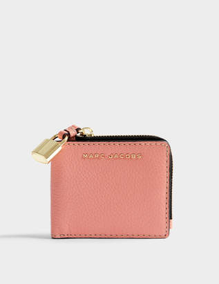 Marc Jacobs The Grind Snap Wallet in Coral Cow Leather
