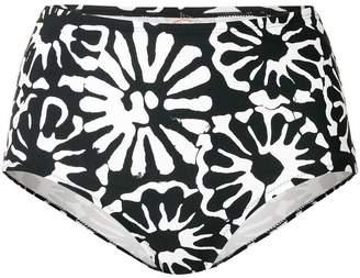 high-waisted floral bikini bottoms