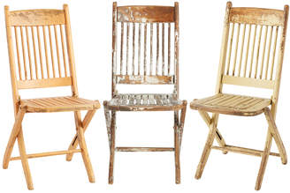Rejuvenation Charming Trio of Rustic Painted Spindle-back Folding Chairs