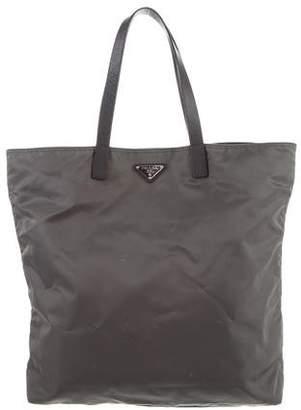 Prada Nylon Leather-Trimmed Tote