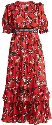 Self-Portrait Floral-print pleated crepe de Chine dress