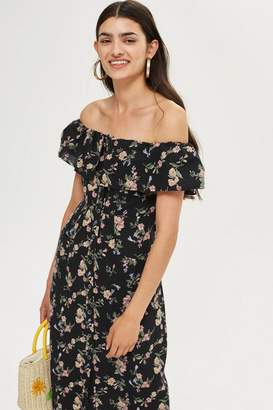 Topshop PETITE Printed Bardot Midi Dress